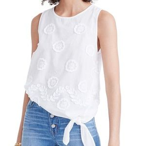 Madewell Embroidered White Side Tie Tank Top